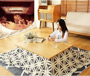 JINCAN Table de chauffage table tatami, table de tatami chauffante, ensemble de 4 pièces, moquette confortable et couverture en peluche, chauffe-pieds sous la table basse (Couleur : Log Color Table)