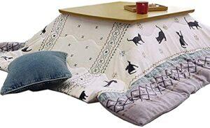 JINCAN Table de chauffage Tatami Japanese Kotatsu Tableau avec chauffage/couverture/couette, table basse Tatami Futon, table carrée en bois massif