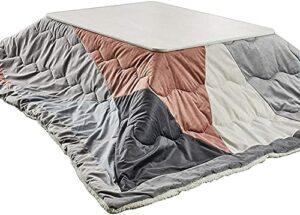 JINCAN Table de chauffage tatami kotatsu table basse, salle de séjour Tatami poêle japonaise, ensemble de chauffage, ensemble de 4 pièces, y compris table futon, couverture chaude et tapis, chauffage,