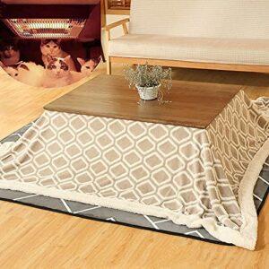 JINCAN Table de chauffage Tatami Kotatsu Table, table de chauffage de cuisinière japonaise, chauffage en tatami en bois massif, table de futon carrée, chauffage/couverture/tapis