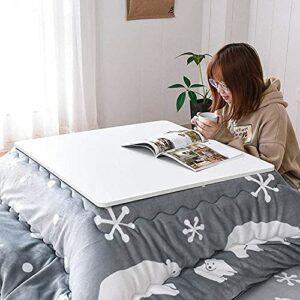 JINCAN Table de chauffage Tatami Tatami Foot Table basse, Table chauffante à la jambe, Tatami Lit Table chauffée Set, avec chauffe-espaces suspendus, couette, tapis souple, table en bois pliable