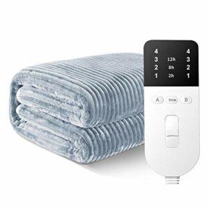 joyvio Couverture électrique avec arrêt Automatique, Couverture électrique pour Le lit, Couverture électrique, lit Thermique 4 réglages de température, avec Fonction minuterie, Gris