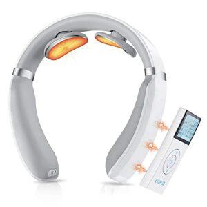 Masseur de cou, EKUPUZ Masseur de cou intelligent avec chaleur, 6 modes 16 niveaux incitait pouls électrique creux de cols de tissu profond masseur pour la douleur au cou et aux épaules masseur de nuq