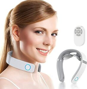 Masseur de cou intelligent avec télécommande, 6 modes, 16 Niveau d'initiation, masseur à col de chaleur à chaud avec émission vocale, connexion Bluetooth pour la musique et l'appel, Type-C Charge mass