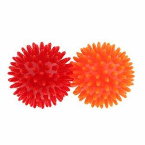 oshhni Balle de Massage 2 Pièces Boules de Massage Auto-massantes – Diamètre 7cm – Boule Hérisson – Red Organge