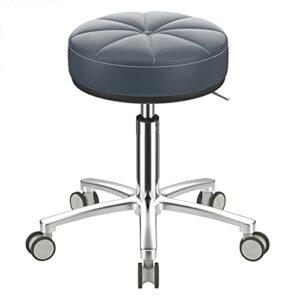 QLIGAH Chaise ronde rotative avec roulettes, chaise pivotante pour salon de massage réglable coussin imperméable