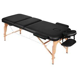 Table de Massage Lit Pliante 3-Section Professionnel Portable Ergonomique Table Canapé Pieds en Bois pour Thérapie Salon Massage Thaïlandais Suédois