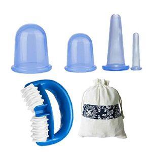 Therapy Therapy Silicone Therapy Set Vacuum Massage Coupe Santé Soins de beauté Serrez la peau Bleu 5pcs