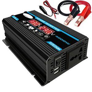 Tree-fr-Life Onduleur de Conversion de Voiture Affichage à LED Double USB Noir 6000W 4000W 3000W Onduleur 12V-220V Protection Multiple Noir T2 4000w 12v à 220v