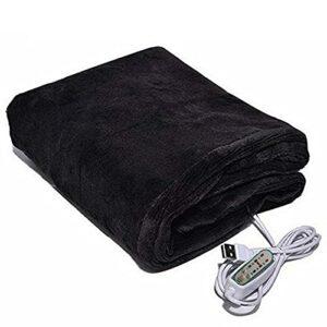 TTSEFW Couverture Chauffante Électrique Warm Electric Blanket Shawl Couverture Chaude Lavable Alimentée par USB Couverture De Sieste Portable Chauffante80×45CM(Le Noir)