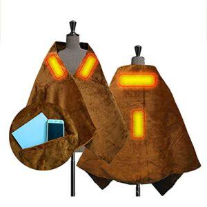 TTSEFW Warm Electric Blanket Shawl Couverture Chaude Lavable Confortable Alimentée par USB Couverture De Sieste À La Maison De Bureau170×70CM(Brun)