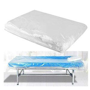 ZFAZF 90 pcs Draps Jetables,Tables De Massage Couvrir Les Draps en Plastique jetable Couvre lit étanche à l'huile, Housse Canapé,pour Massage Tables,Transparent, Grande Taille