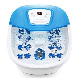Appareil de massage pour les pieds avec chaleur, bulle, vibration, 16 rouleaux de massage, temps et température réglables, bulles d'O2 et bain de pieds avec pierre ponce pour usage domestique