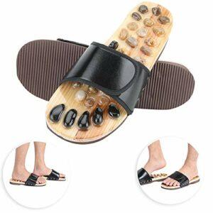 Chaussures de massage, pantoufles d'acupression multifonction pour favoriser la circulation sanguine, chaussons de massage avec thérapie des pieds pour la maison (noir, 37-38)