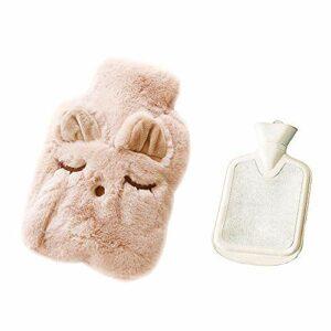 Drizzle Bouillotte avec housse en polaire douce Série animale Classic Procure chaleur et confort (Cat black)
