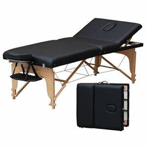 Gaoyuhong anmochuang LJHA Table De Massage Pliante Beauté Bed Accueil Aiguille Moxibustion Physiothérapie en Bois Massif Lit avec Ascenseur Retour, Noir, Vin Rouge Tables de Massage (Color : Black)