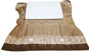 JINCAN Table de chauffage ménage pliant rectangulaire bois massif bois d'hiver japonais (Couleur : Blanc, Taille : 60 * 80 * 40cm)