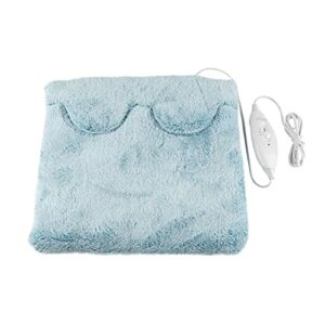 oshhni Coussin chauffant lit chauffant rapide pieds abdomen back office maison sous le bureau, chauffe-pieds électrique pour les femmes à la maison, Bleu clair