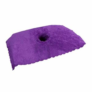 SM SunniMix Serviette de Lit de Salon de Beauté Absorbante Douce en Coton avec Physiothérapie de Lit de Massage à Trous – Violet