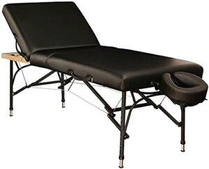 Table de massage en aluminium Table de massage portable Table de massage à 2 plis Lit de tatouage pour salon du visage réglable en hauteur