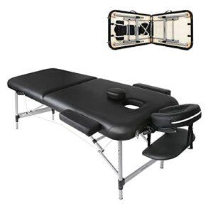 Table de Massage Pliante Aluminium Cosmetique Lit de Massage Portable 2 Sections avec l'Appui-Tête Amovible, Accoudoirs Réglables, avec Housse de Transport et Accessoires (Noir)
