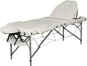 Table de massage portable avec table de traitement de dossier avec oreiller de berceau réglable pour le visage, traversin demi-rond pour le spa de salon de tatouage de thérapie,Blanc