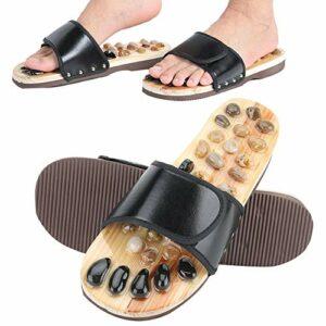 Uxsiya Chaussures de massage pour pieds – Pantoufles d'acupression – Adaptées pour un usage familial – Favorisent la circulation sanguine – Pantoufles de massage pour la maison (noir, 41-42)