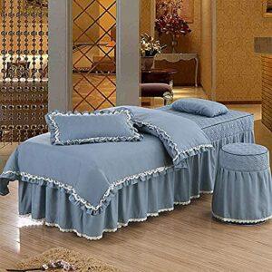 XKun Ensemble de 4 cache-sommier en dentelle pour lit de massage, 80 x 190 cm