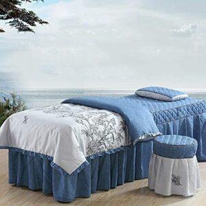 XKun Housse de lit 4 pièces simple haut de gamme salon de beauté massage spécial lit jupe combinaison 60x180cm