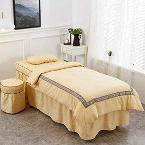 XKun Housse de lit de salon de beauté 4 pièces, couleur unie, jupe de lit de massage européen, 70 x 190 cm